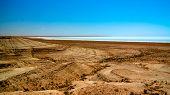Panorama view to saline Barsa Kelmes lake and Ustyurt plateau at Karakalpakstan, Uzbekistan poster