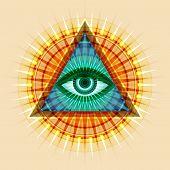 All-Seeing Eye of God (The Eye of Providence   Eye of Omniscience   Luminous Delta   Oculus Dei). Ancient mystical sacral symbol of Illuminati and Freemasonry. poster