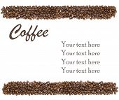 white background with isolated coffee beans and sample text poster