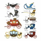 Carriage vector vintage transport with old wheels and antique transportation illustration set of royal coach and chariot or wagon for traveling isolated on white background. poster