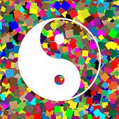Ying yang symbol of harmony and balance. Vector. White icon on colorful background with seamless pattern from squares. poster