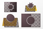 Laser cut ornamental vector template. Table Number, Place Card, Wedding seats card, Table card guests, dining table card, Escort card. Cut Out paper card for laser cutting or die cutting template. poster