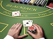 poker gambler in online casino bet on blackjack table poster