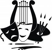Vector Lyre, palette and masks - symbols of music. arts and theater - isolated black illustration on white background. poster