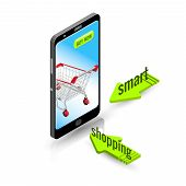 Shopping with your smartphone, market, shopping, merchandise, store poster