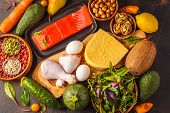 Keto diet concept. Balanced low-carb food background. Vegetables, fish, meat, cheese, nuts on a dark background. poster