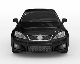 Car Isolated On White - Black Paint, Tinted Glass - Front View - 3d Rendering
