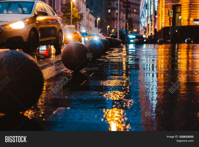 Wet Night City Street Image Photo Free Trial Bigstock
