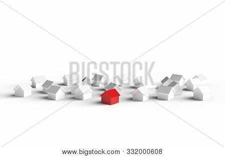 Group Of House Isolated On White Background. 3d Illustration.