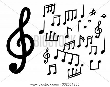 Set Of Musical Notes. Doodle Musical Notes. Vector Isolated Objects