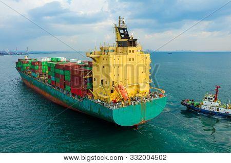 Aerial View Cargo Ship Of Business Logistic Transportation Sea Freight,cargo Ship, Cargo Container I