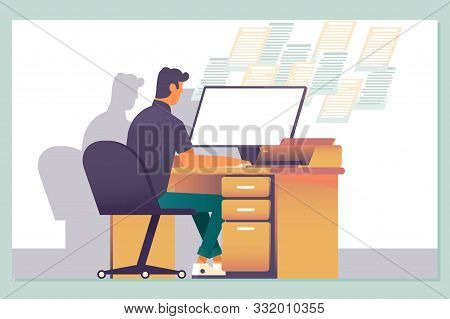 Working Late, Overtime Office Work And Computer Worker Nights. Vector Illustration