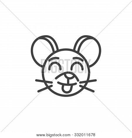 Stuck-out Tongue Rat Emoticon Line Icon. Linear Style Sign For Mobile Concept And Web Design. Showin