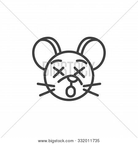 Sleeping Rat Emoticon Line Icon. Linear Style Sign For Mobile Concept And Web Design. Dormant Mouse