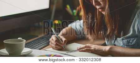 Banner, Web Page Or Cover Template Of Asian Businesswoman Sitting And Working Hard On The Table With