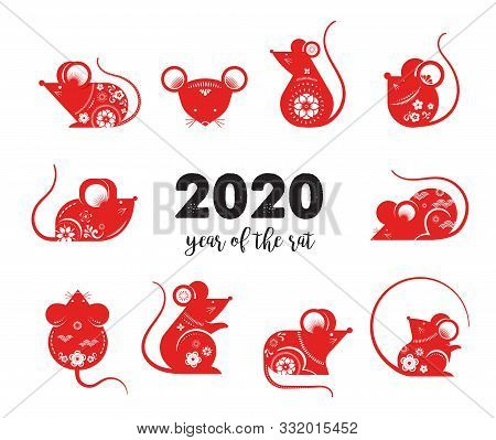 Happy Chinese New Year Design. 2020 Rat Zodiac. Cute Decorated Mouses Collection. Japanese, Korean,