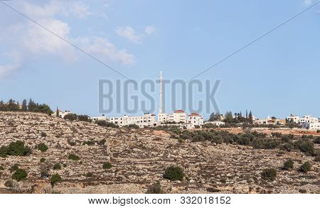 Rosh Haayin, Israel, October 31, 2019 : View From The Highway Number 5 High Mosque With In Palestini