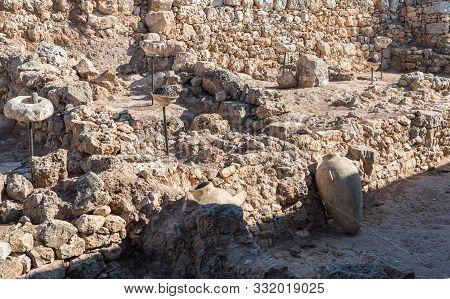 Rosh Haayin, Israel, October 31, 2019 : Archaeological Excavations Of Storage Facilities Of The Anci
