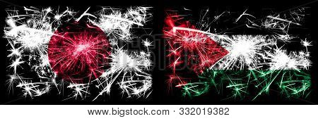 Japan, Japanese Vs Palestine, Palestinian New Year Celebration Sparkling Fireworks Flags Concept Bac