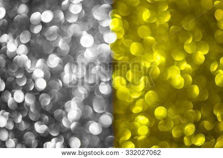 Abstract Two Color Texture Glitter Lights Background. Silver, Gold. De-focused.