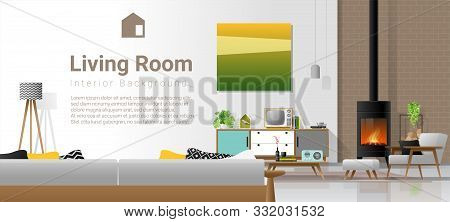 Living Room Interior Background With Fireplace And Furniture In Modern Retro Style , Vector , Illust