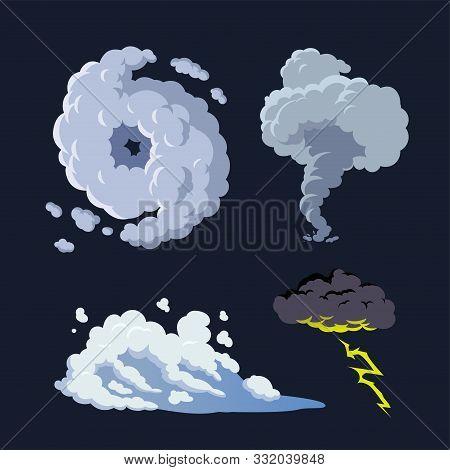 Hurricane Storm Surge Tornado Thunderstorm Illustration Vector Background Set