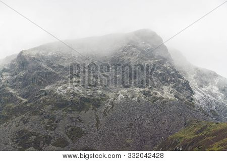 Mountain Mynydd Drws-y-coed With Light Dusting Of Snow.
