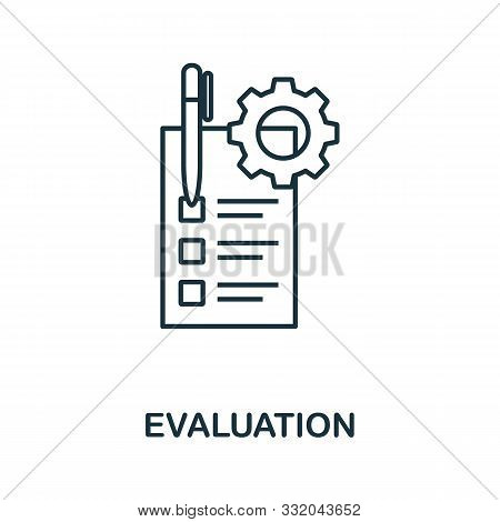 Evaluation Icon Outline Style. Thin Line Creative Evaluation Icon For Logo, Graphic Design And More
