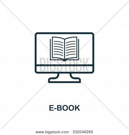 E-book Icon Outline Style. Thin Line Creative E-book Icon For Logo, Graphic Design And More