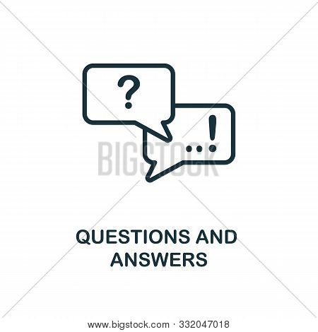 Questions And Answers Icon Outline Style. Thin Line Creative Questions And Answers Icon For Logo, Gr
