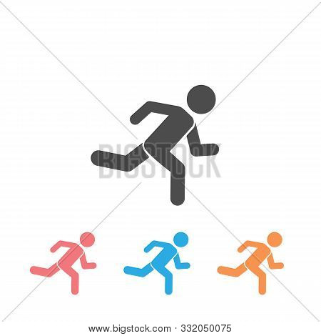 Runner Icon Set. Logo Element Illustration. Runner Symbol Design. Colored Collection. Runner Concept