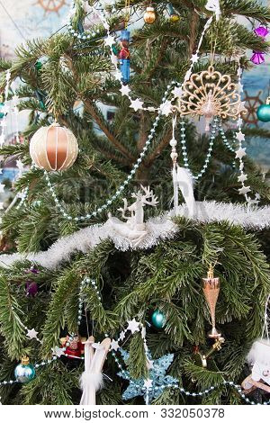 Beautiful Decorated Christmas Tree Background Selective Focus.
