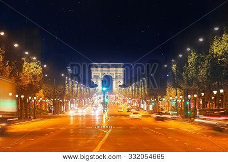 Champs Elysees Boulevard And Arc De Triumph Paris