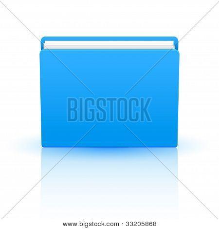 Vector Blue Folder Isolated On White Background. Eps10
