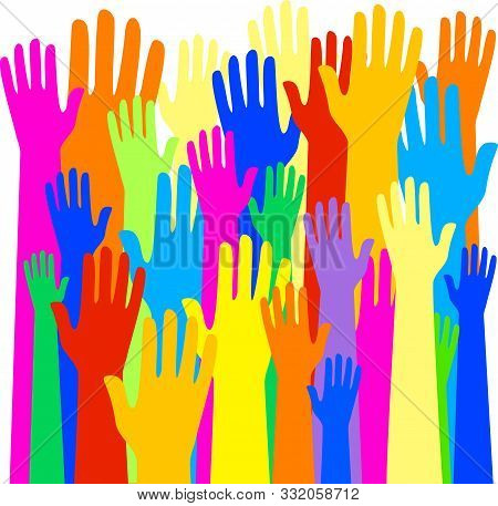 A Large Community Of Raised Human Hands In Simple Flat Colours.