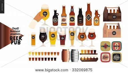 Brewery, Craft Beer Pub -small Business Graphics - Beer -modern Flat Vector Concept Illustrations -d