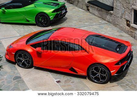 Porto Cervo, Italy - August 13 2019 : Sports Car Lamborghini In Porto Cervo