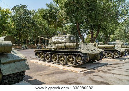 Tashkent, Uzbekistan - September 03, 2018: Old Famous Soviet Union Tank - T34, That Was Used During
