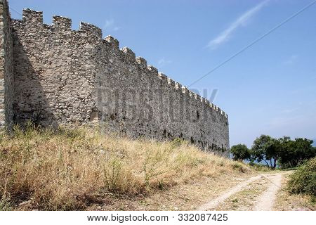 Wall Of The Byzantine Fortress Platamon In The Region Of Pieria. Greece