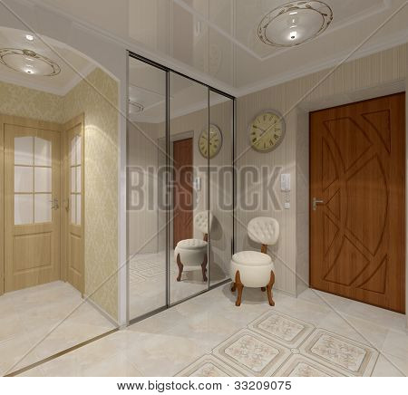 interior  vestibule with glassy cupboard  and specular ceiling poster