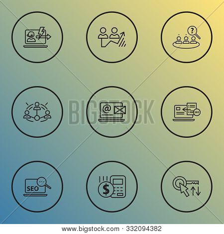 Engine Icons Line Style Set With Immediate Response, Sort Keywords, Contact Form And Other Seo Eleme