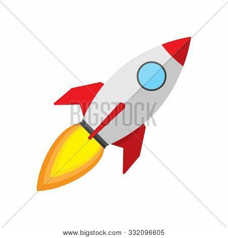 Vector Rocket Ship Icon. Color Rocket Launch Isolated. Rocket Icon In Flat Design. Rocket Launch - V