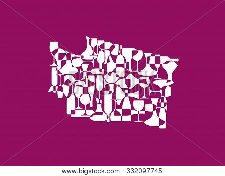 States Winemakers - Stylized Maps From Silhouettes Of Wine Bottles, Glasses And Decanters. Map Of Wa