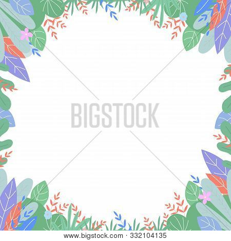 Leaves Drawing Frame, Square Boho Border In Scandinavian Style With Plants Leaf And Flowers With Pla
