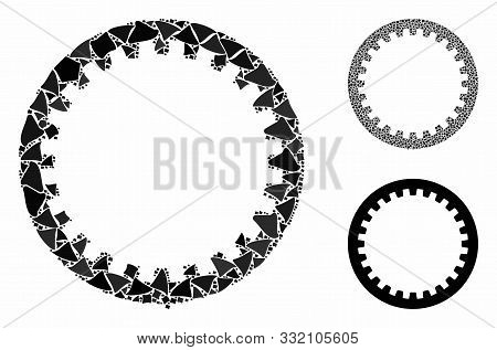 Annular Gear Composition Of Ragged Elements In Variable Sizes And Color Tints, Based On Annular Gear