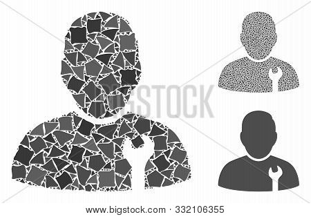 Serviceman Mosaic Of Bumpy Elements In Different Sizes And Shades, Based On Serviceman Icon. Vector