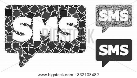 Sms Composition Of Joggly Pieces In Various Sizes And Color Tints, Based On Sms Icon. Vector Tremula