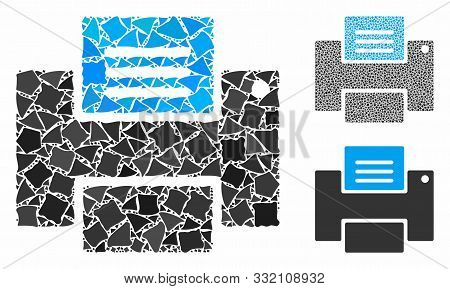 Printer Mosaic Of Unequal Parts In Various Sizes And Shades, Based On Printer Icon. Vector Unequal P