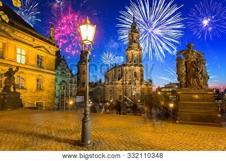 New Years firework display over the Dresden Castle in Saxony, Germany