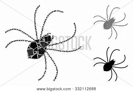 Spider Composition Of Trembly Elements In Variable Sizes And Shades, Based On Spider Icon. Vector Un